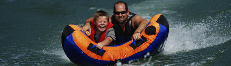 Father and son tubing